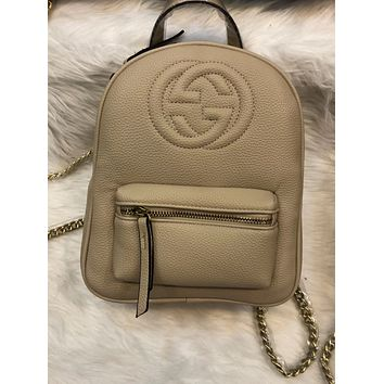 GUCCI Fashion Women Casual School Bag Cowhide Leather Backpack