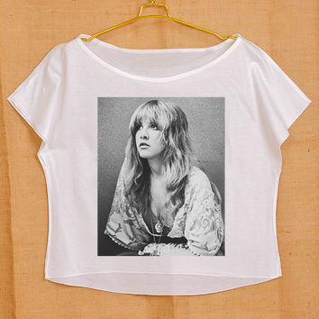 Fleetwood Mac Stevie Nicks Pop Dance Punk Vintage Lady Women Fashion T shirt Wide Crop Top Free Size