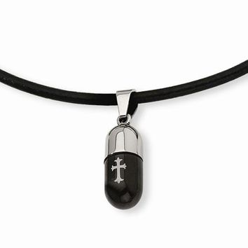 Stainless Steel Etched Black Ip-Plated Cross Capsule Necklace