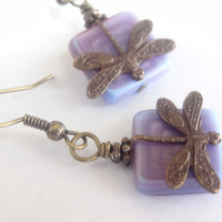 brass dragonfly earrings purple czech glass beaded