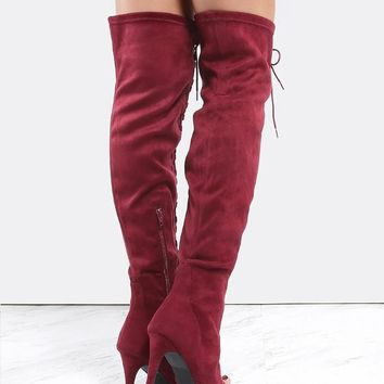 New arrival style red suede leather long boots peep toe cross strap thigh high boots lace up stiletto heel shoes for women party