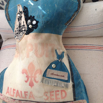 Vintage teal Alfalfa seed sack lingerie corset laundry bag,  vintage corset bags, vintage seed sacks, shabby chic laundry bags