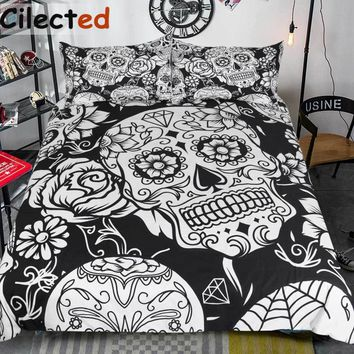 Cool Cilected 3Pcs Black And White Duvet Cover With Pillowcases Sugar Skull Bedding Set Au Queen King Size Flower Soft Bed CoversAT_93_12