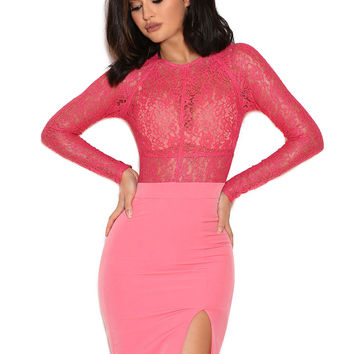 Clothing : Max Dresses : 'Anzia' Fuchsia Lace and Crepe Long Dress
