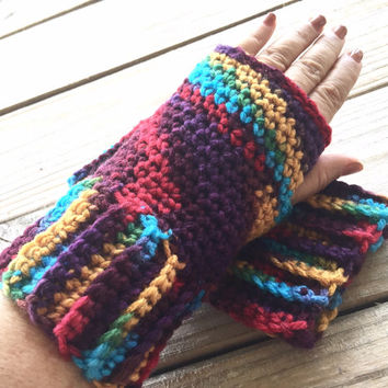 Hand Crocheted Multicolored Texting Gloves, Fingerless Gloves, Crochet Mitts, Southwestern Fingerless Gloves, Bohochic Crochet Wrist Warmers