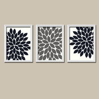 Wall Art Canvas Artwork Black White Grey Gray Charcoal Flower Burst Dahlia Bloom  Set of 3 Trio Prints  Decor   Bedroom Bathroom Three
