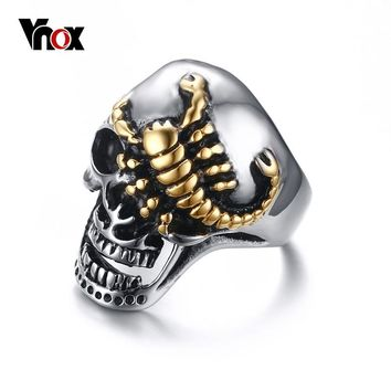 Vnox Men's Skull Bone Biker Rings Scorpion Stainless Steel Male Retro Jewelry