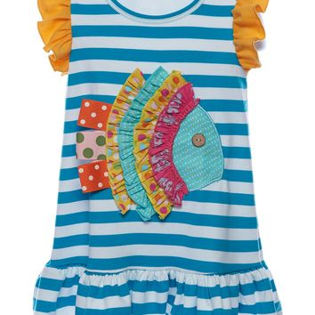 LaJenns Girl's Stripe Knit Dress with Fish Appliqué