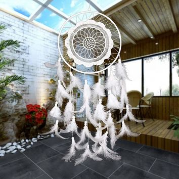 White Lace Flower Dreamcatcher with Feathers Indian Style Home Decoration Pendant Hang Accessory 65cm/2ft Length