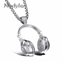 Fashion Design Men Jewelry Puck Style Box Link Chain  Steel Music Headphones Necklace for Men
