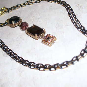 Elegant Antique Gold and Necklace with Black and Gold Diamond Cut Chain, Black, Copper, Amber Stones and Small Square Rhinestone Charm