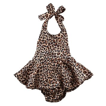 Fashion Infant Baby Girl Leopard Romper Jumpsuit Outfits