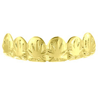 Designer Top Teeth Custom Grillz 14k Yellow Gold Finish