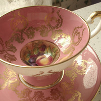 Antique Aynsley D. Jones signed fruit tea cup set, pink china tea cup and saucer, pink and gold English tea set