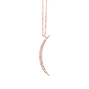 0.13ct 14k Rose Gold Diamond Crescent Pendant
