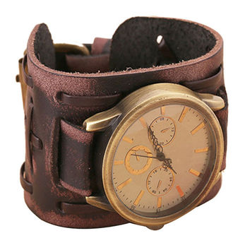 2016 Men Fashion Belt Watch Quartz Watch New Style Retro Punk Rock Brown Big Wide pu Leather Bracelet Cuff Men Watch Cool yj