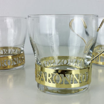 Set of 4 Vintage Liquor Glasses, Vintage Disaronno Liquor Glasses, Gold Barware Glasses, Gold Drinkware, Vintage Barware, Cocktail Glasses