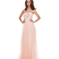 Nude Tulle & Beaded Corset Strapless Gown 2015 Prom Dresses