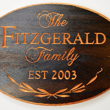 Custom Personalized Family Plaque - Established Sign - Carved Wood Sign