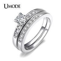 UMODE White Gold Color 0.5ct Brilliant with Pave Band Cubic Zirconia anillos mujer Wedding Ring Set JR0057B