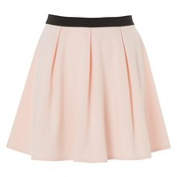 Plus Size Pleated Skater Skirt with Contrast Waist Band