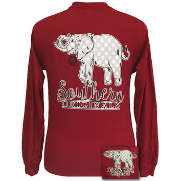 Girlie Girl Southern Polka Dot Happy & Preppy Elephant Long Sleeve T Shirt