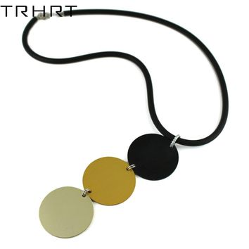 TRHRT Vintage New Long Black Rubber Rope Necklace Long Cord 3 Big Round Metal Pendant Collar Chain Punk Jewelry for party