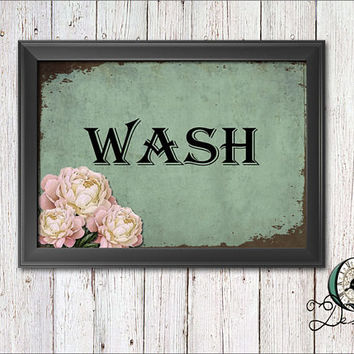Single Image digital download Wash Room Bathroom Wall Art Decor Vintage Rustic Soap and Towel Print Graphic Art Home Decor wash