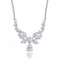 "The ""Ashley"" CZ Bridal Necklace Earring Silver Plating & Rhodium"