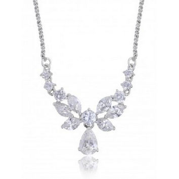 """The """"Ashley"""" CZ Bridal Necklace Earring Silver Plating & Rhodium"""