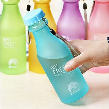 550mL BPA Free Portable Leakproof Unbreakable Travel Yoga Water Bottle Running Camping [8069647815]