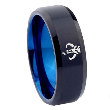 8mm Star Wars Mandalorian Boba Fett Bevel Tungsten Blue Men's Wedding Ring