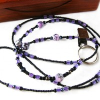 Black and Lavender Badge Holder Necklace, Hand Beaded, Unique ID Lanyard, Accessories for Her