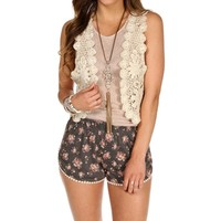 Natural Crochet Crop Vest