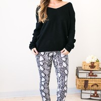 Sahara Black And White Snakeskin Pants