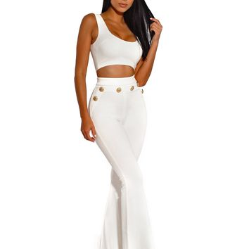 Gold Button Detail High Waisted White Flared Stretch Crepe Pants