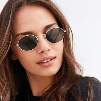 Small Round Sunglasses Women Sunglasses Brand 2018 Oval Vintage Metal Frame Glasses Fashion Men Vintage Coating Mirror Shades