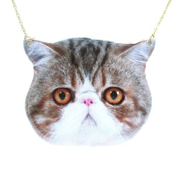 Exotic Shorthair Calico Kitty Cat Face Shaped Vinyl Animal Themed Cross Shoulder Bag | DOTOLY