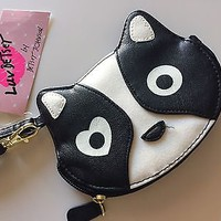 NWT Betsey Johnson Black and White Coin Purse