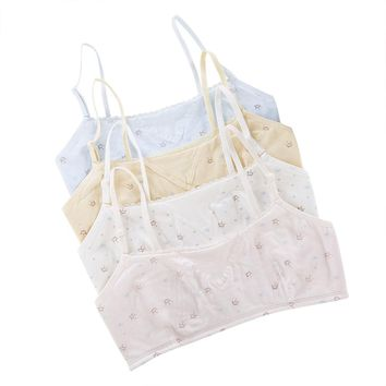 Cotton Baby Girl Underwear Sport Training Puberty Top Bras Girl Adjustable Shoulder Strap Bra For Kids Lace Undergarment Clothes