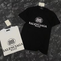 """Balenciaga"" Unisex Casual All-match Classic Letter Print Short Sleeve Couple Cotton T"