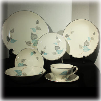 Mid Century Modern, Dinnerware, J & G Meakin, Aqua Blue Leaf, Black Gray, Plate Bowl, Tea Cup Saucer, Tropicana, MCM China