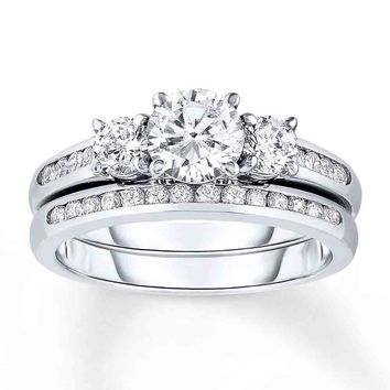 Sterling Silver 925 CZ Round 3 Stone Engagement Ring Wedding Band Set Size 5-10