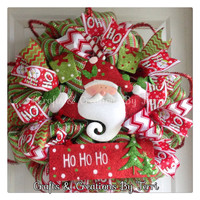 Christmas Wreath - Santa Wreath - Ho Ho Ho Wreath - Holiday Wreath - Christmas Decor  - Dec Mesh Wreath - Door Decor - Ready To Ship