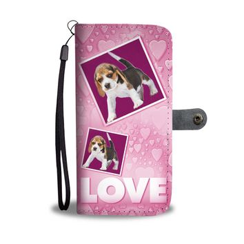 Beagle Dog with Love Print Wallet Case-Free Shipping