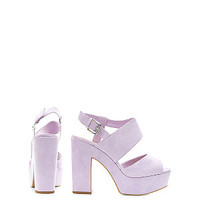 Wide Fit Lilac Chunky Ankle Strap Block Heels