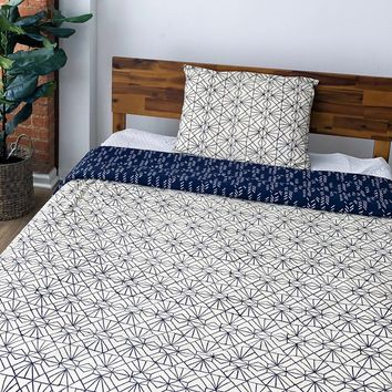 Stylized Feather/Art Deco Reversible Duvet Cover in Navy + Cream