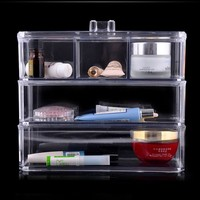 Crystal Acrylic Cosmetic box Organizer Makeup Jewelry Storage Lipstick make-up brush Holder Display Box Acrylic Case Stand Rack