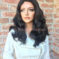 """Brown Wave Swiss Human Hair Blend Multi Parting lace part wig 12"""""""