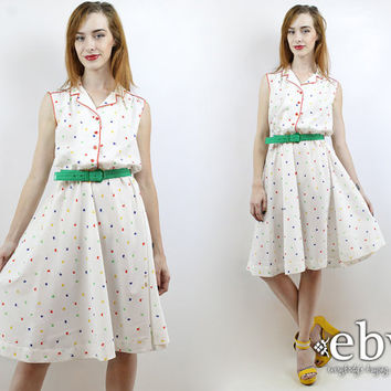 Vintage 70s Rainbow Floral Day Dress L White Dress Secretary Dress Sleeveless Dress Floral Dress Summer Dress Babydoll Dress